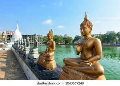 COLOMBO, SRI LANKA - MARCH 24, 2016: Buddha statues at Seema Malaka Temple in Colombo, Sri Lanka.
