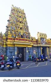 Colombo, Sri Lanka - March 29, 2018: The gopuram of Sri Muthu Vinayagar Swamy Kovil. A kovil is an Hindu temple with Dravidian architecture.
