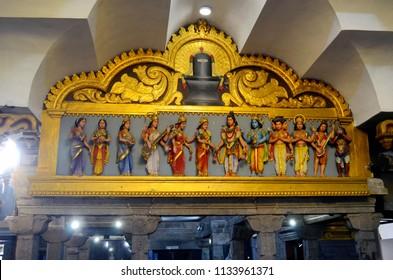 Colombo, Sri Lanka - March 29, 2018: Inside Sri Muthu Vinayagar Swamy Kovil. A kovil is an Hindu temple with Dravidian architecture.
