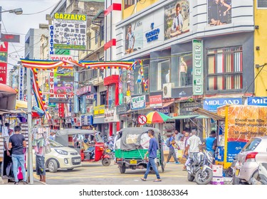 COLOMBO, SRI LANKA - May 4, 2018: Gridlock traffic in the busy downtown business district streets of Colombo, Sri Lanka.