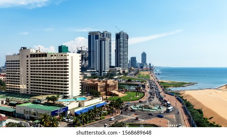COLOMBO, SRI LANKA - NOVEMBER 04, 2019: Aerial view on Galle Face Green, an ocean-side urban park in the heart of Colombo. The promenade was laid out in 1859 by Governor Sir Henry George Ward.