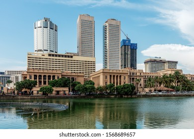 COLOMBO, SRI LANKA - NOVEMBER 04, 2019: Skyline of Colombo. In the foreground governmental buildings - Presidential Secretariat, Ministry of Finance, Department of National Planning, General Treasury.