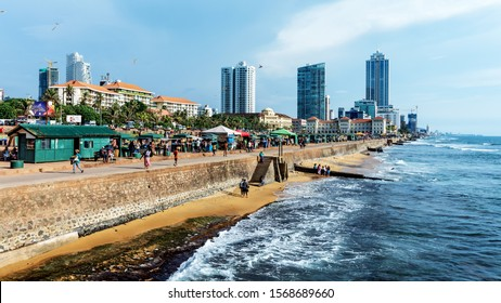 COLOMBO, SRI LANKA - NOVEMBER 04, 2019: Scenes from Galle Face Green, an ocean-side urban park in the heart of Colombo. The promenade was laid out in 1859 by Governor Sir Henry George Ward.