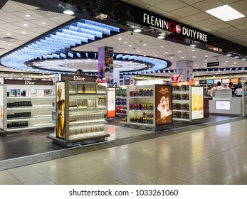 Colombo, Sri Lanka - November 12, 2017: The duty free shop at Bandaranaike International Airport on the early morning while some passengers looking for the duty free products.