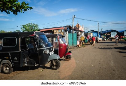 Colombo, Sri Lanka - Sep 5, 2015. Tuk tuk taxis parking on street in Colombo, Sri Lanka. Colombo is the commercial capital and largest city of Sri Lanka, with a population of 5.6 million.