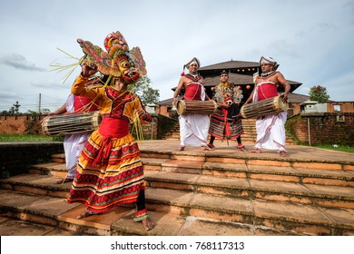Colombo, Sri Lanka - Sep 8, 2015. Traditional dancing show at a temple in Colombo, Sri Lanka. Colombo is the financial centre of the island and a popular tourist destination.