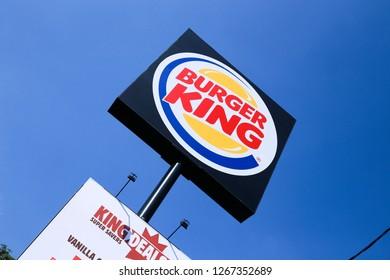 COLOMBO, SRI LANKA - SEPTEMBER 25, 2018:  Burger King Logo Sign Board at Outside of a Burger King Restaurant. Burger King is an American global chain of hamburger fast food restaurant