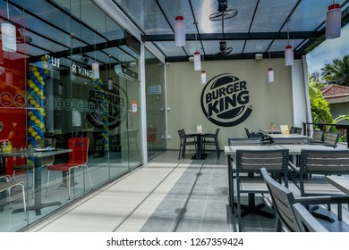 COLOMBO, SRI LANKA - SEPTEMBER 25, 2018:  Outside Tables and Seating at a Burger King Restaurant. Burger King is an American global chain of hamburger fast food restaurant