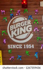 COLOMBO, SRI LANKA - SEPTEMBER 25, 2018: Burger King Logo at a Burger King Restaurant. Burger King is an American global chain of hamburger fast food restaurant