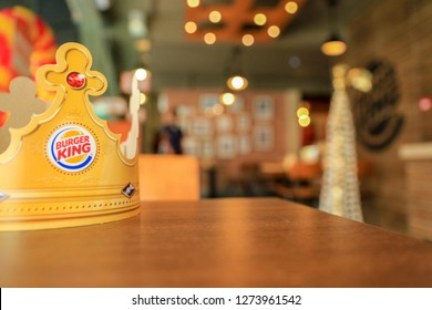 COLOMBO, SRI LANKA - SEPTEMBER 25, 2018: Burger King Crown on a table inside a Burger King Fast Food Restaurant located in Colombo