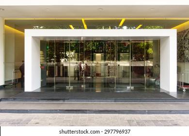 Colombo, Srilanka - 06 July, 2015: Glass Door of of Cinnamon Red Colombo, Srilanka