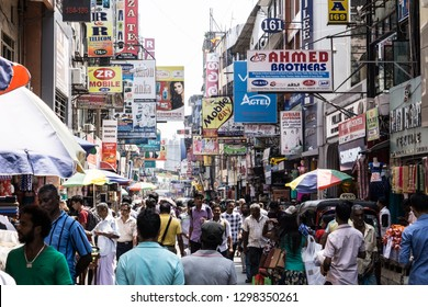 Colombo, Sri-Lanka - February 16 2018: Crowded streets of Pettah Market
