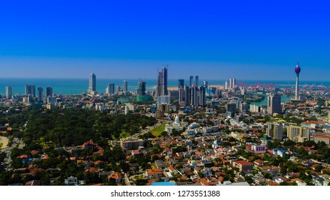Colombo,Sri Lanka- December 05 2018 ; View of the Colombo city skyline with modern architecture buildings including the lotus towers.