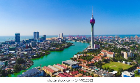 Colombo,Sri Lanka- December 05 2018 ; View of the Colombo city skyline with modern architecture buildings including the lotus towers.  BOC, world trade center, shangri la