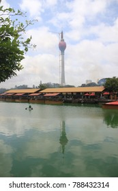 Colombo/Sri Lanka-Aug.23.2017: The Lotus Tower  under condtruction but architectuarlly topped  out at 350m(1150ft), the tallest structure in South Asia.