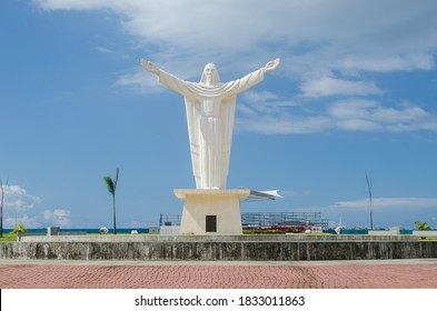 Colon, Panama - Oct 10, 2020:  The Christ at the Paseo Marino in the city of Colon