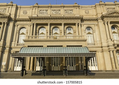 Colon Theatre facade on 9 de julio Avenue at Buenos Aires, Argentina. This Opera House is considered one of the top 5 world's concert halls, comparable with La Scala in Milan or Paris Opera