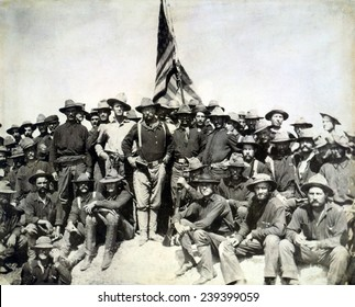 Colonel Roosevelt and his Rough Riders at the top of the hill which they captured, Battle of San Juan Hill during the Spanish American War.