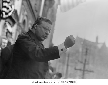 Colonel Theodore Roosevelt, speaking in Yonkers, New York, Oct. 17, 1910. He spoke to a crowd of 6,000 from the Balcony of Getty House, a hotel