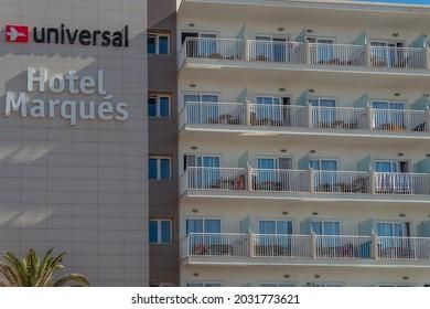 Colonia de Sant Jordi, Spain; july 02 2021: Facade of the Hotel Marques in the Mallorcan tourist resort of Colonia de Sant Jordi on a sunny summer morning