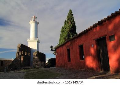 COLONIA DEL SACRAMENTO, URUGUAY - APRIL 22: The historic lighthouse, Faro de Colonia, is perhaps the most prominent landmark in Colonia Del Sacramento April 22, 2019 in Colonia Del Sacramento, Uruguay