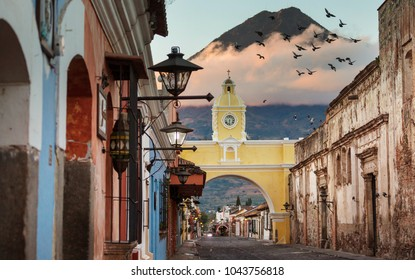 Colonial architecture in ancient Antigua Guatemala city, Central America, Guatemala