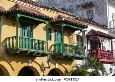 Colonial Balconies, Cartagena de Indias, Bolivar Department, Colombia, South America