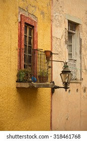 Colonial Balcony with plants in Guanajuato, Mexico