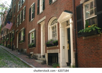 A colonial Boston street in the historic Beacon Hill Neighborhood.