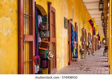 Colonial building of Las Bovedas at Cartagena de Indias, Colombia