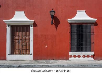 Colonial buildings in the centre of Ciudad del Carmen town, Campeche, Mexico