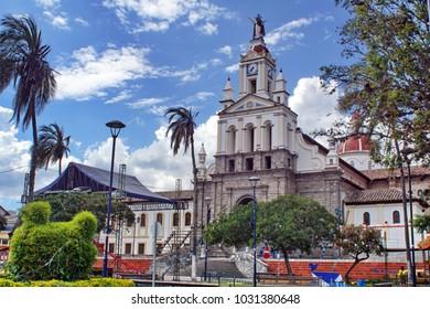 Colonial Catholic church off Matriz Square in Cotacachi, Ecuador