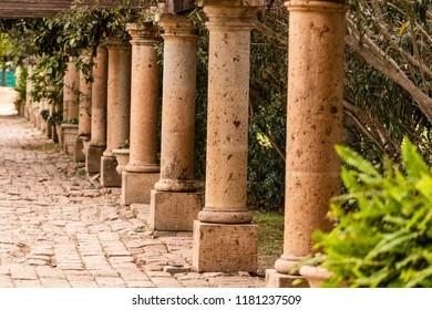 Colonial city of Topolobampo, Mexico. Roman columns in the central park of Topolobampo.