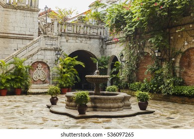 Colonial courtyard interior in philippines manila