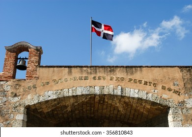 Colonial door with dominican flag at Santo domingo on Dominican Republic