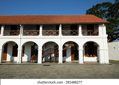 Colonial fine condition building development of the fort Galle on Sri Lanka. The photograph is presenting old hospital building in fort Galle, Sri Lanka