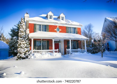 A colonial home in southern New Jersey covered in fresh snow.