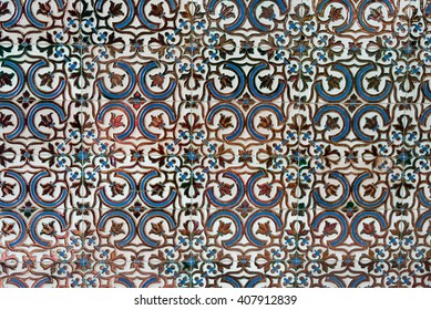 Colonial house architecture Vintage floor tiles with black, and blue as a decorative design