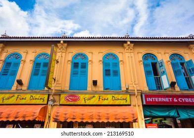 Colonial house in Little India, Singapore on August 11, 2014 in Singapore. Little India is an ethnic neighbourhood found in Singapore that has Tamil cultural elements and aspects.