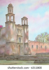 "Colonial Mexican Convent, of Santiago, Tlatelolco, Mexico City # 96-058; 28x43 cm. = 11""x17"""