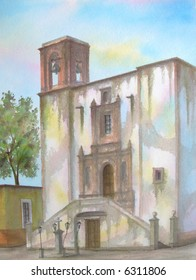 "Colonial Mexican Parish, of San Roque, Guanajuato, Mexico # 92-091; 28x43 cm. = 11""x17"""