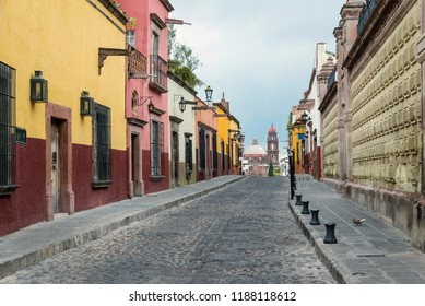 Colonial street in Guanajuato, Mexico Old streets founded in the Spanish conquest in San Miguel de Allende, Mexico