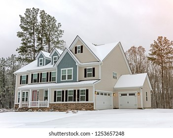 Colonial style luxury home in the winter