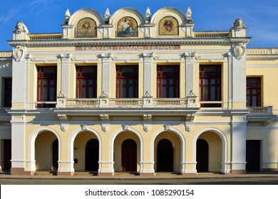 Colonial theatre with arcades by the main square (Plaza de Armas) in the Cienfuegos city on Cuba