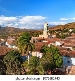 Colonial town cityscape of Trinidad, Cuba. Museo Nacional de la Lucha Contra Bandidos in Iglesia y Convento de San Francisco (Saint Francisco church). UNESCO World Heritage Site.