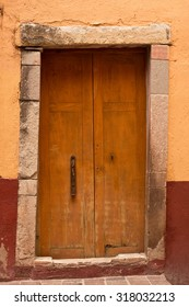 Colonial Wooden Door Entry to old house in Guanajuato, Mexico