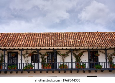 Colonial-style balconies in Villa de Leyva is something that is present in many facades of this city in Colombia.