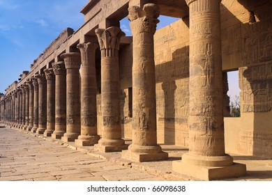 A colonnade of ancient Egyption columns at philae Temple near Aswan