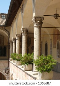 Colonnade at Basilica of St. Francis in Assisi, Italy