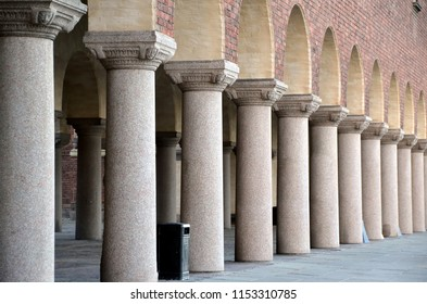 Colonnade of the City Hall of Stockholm, Sweden